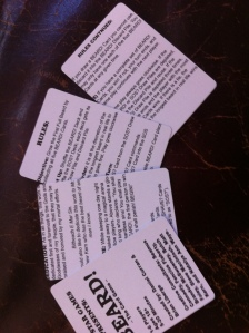 Rules Cards. One of the changes we made after the proof was to fix these margins.